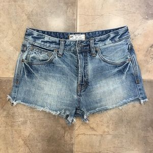 Free People Mid Wash Cut Off Denim Shorts 24
